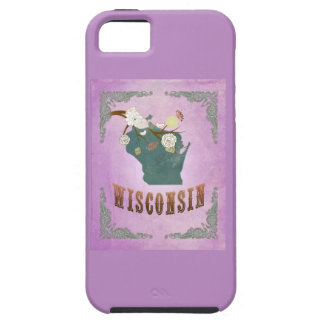 Modern Vintage Wisconsin State Map- Grape Purple iPhone 5 Covers