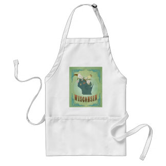 Modern Vintage Wisconsin State Map – Sage Green Adult Apron