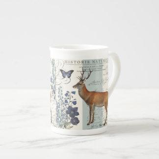 modern vintage woodland deer tea cup