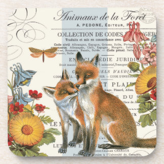 Modern vintage woodland fox beverage coasters