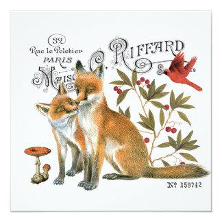modern vintage woodland fox invitation