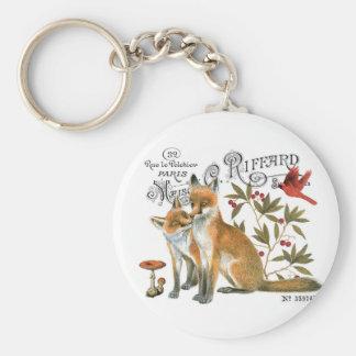 modern vintage woodland fox keychains