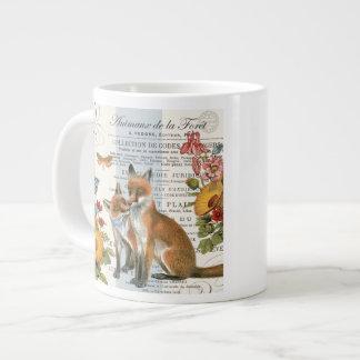 Modern vintage woodland fox large coffee mug