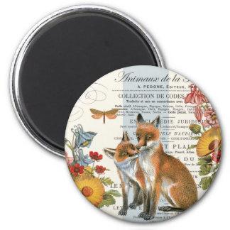 Modern vintage woodland fox 2 inch round magnet