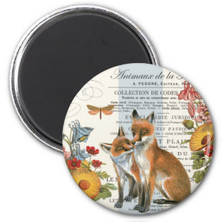 Modern vintage woodland fox magnet