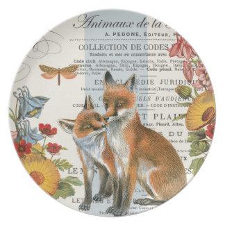 Modern vintage woodland fox melamine plate