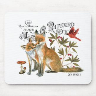 modern vintage woodland fox mouse pad