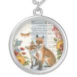 Modern vintage woodland fox necklace