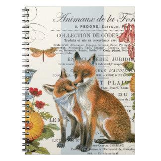 Modern vintage woodland fox notebook