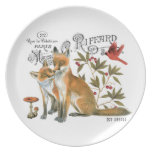 modern vintage woodland fox party plate