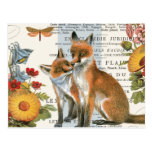 Modern vintage woodland fox post cards