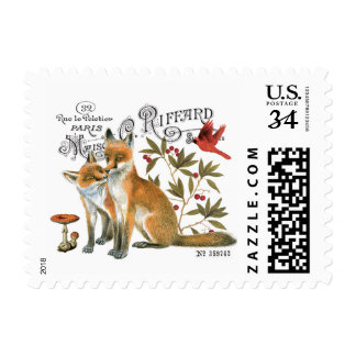modern vintage woodland fox postage stamp