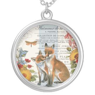 Modern vintage woodland fox round pendant necklace