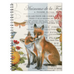 Modern vintage woodland fox spiral note books