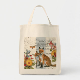 Modern vintage woodland fox tote bag