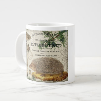 modern vintage woodland hedgehog giant coffee mug