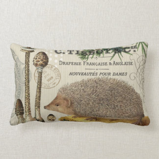 modern vintage woodland hedgehog lumbar pillow