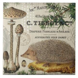 modern vintage woodland hedgehog tile