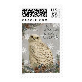 Modern vintage woodland owl postage stamp