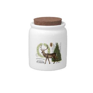modern vintage woodland winter deer candy jars