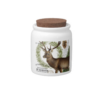 modern vintage woodland winter deer candy jar