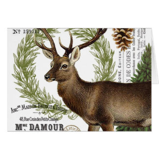 modern vintage woodland winter deer card