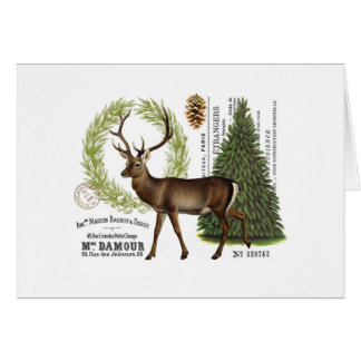 modern vintage woodland winter deer card