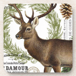 modern vintage woodland winter deer beverage coasters