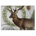 modern vintage woodland winter deer cutting board