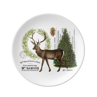 modern vintage woodland winter deer dinner plate