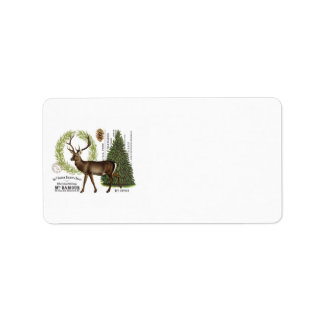 modern vintage woodland winter deer label