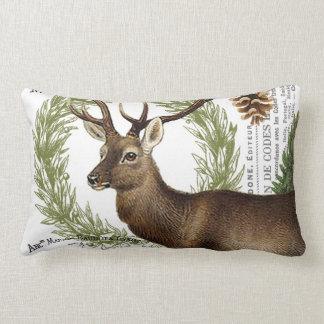 modern vintage woodland winter deer lumbar pillow