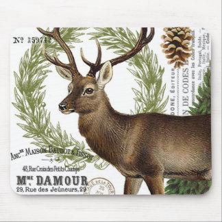 modern vintage woodland winter deer mousepad