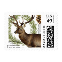 modern vintage woodland winter deer postage