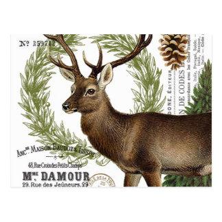 modern vintage woodland winter deer postcard