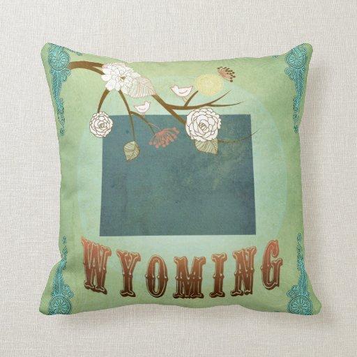 Modern Vintage Pillows : Modern Vintage Wyoming State Map ? Sage Green Throw Pillows Zazzle