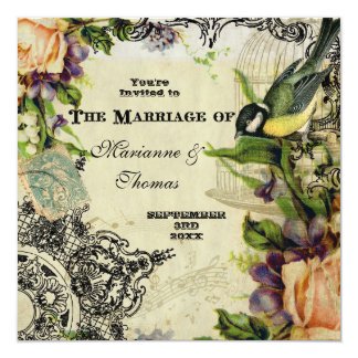 Modern Vintage, Yellow Song Bird Cage Swirl Floral Invitations