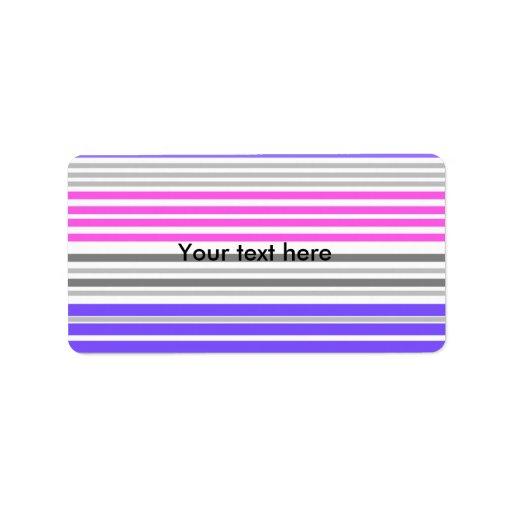 Modern violet and pink horizontal stripes address label