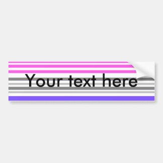 Modern violet and pink horizontal stripes car bumper sticker