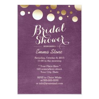 Modern Violet & Gold Dots Bridal Shower Card