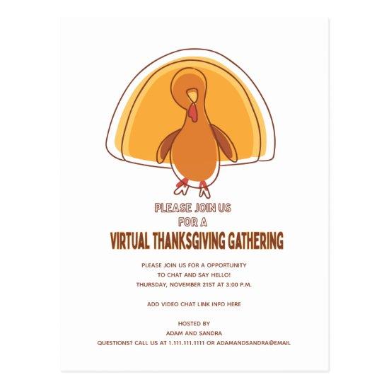 Modern Virtual Friend Family Thanksgiving Party Postcard