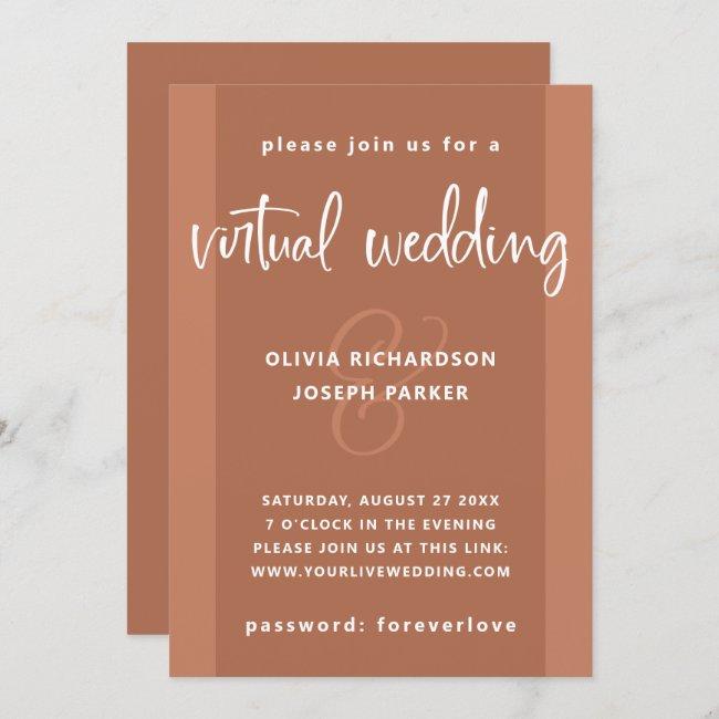 Modern Virtual Wedding | Copper Colored and White Invitation