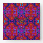 Modern Wall Clock on Red/Blue/Purple/Turquoise