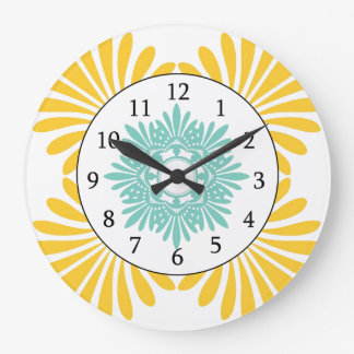 Modern Wall Clock -Yellow Green Floral Pattern