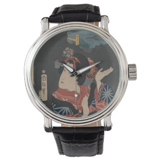 Modern Watch with Vintage Oshichi Art Image