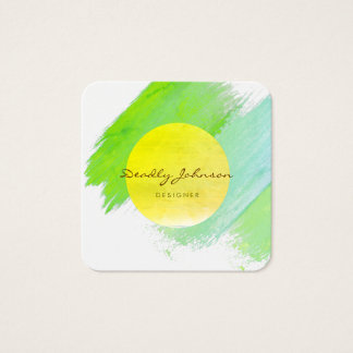 Modern Watercolor Abstract Elegant Cool Teal Square Business Card