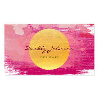 Modern Watercolor Abstract Elegant Pink Yellow Business Card