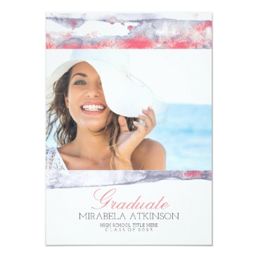 Beach Themed Modern Watercolor Beach Pastel Graduation Party Card