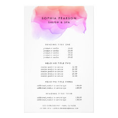 Modern Watercolor Blot   Pricing & Services Flyer at Zazzle
