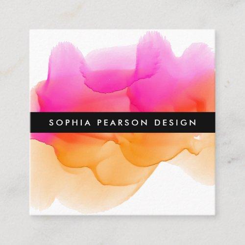 Modern Watercolor Blot  Social Media Square Business Card
